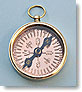Small Polished Brass Open Faced Compass with Copper Compass Rose
