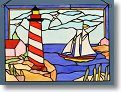 Lighthouse and Sailboat Stained Glass